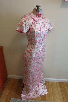 Dress Cheongsam Asian hot pink metallic gold silver brocade