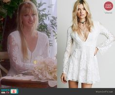 Brittany's white lace long sleeved dress on Glee.  Outfit Details: http://wornontv.net/45903/ #Glee