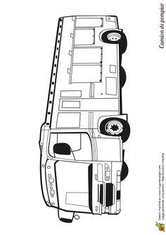 A colorier, l'autobus camion des pompiers Beach Coloring Pages, Truck Coloring Pages, Cool Coloring Pages, Printable Coloring Pages, Coloring Pages For Kids, Adult Coloring, Coloring Books, Bus Drawing, Paint Rv