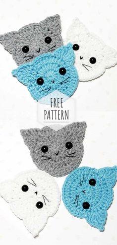 crochet applique Crochet Simple Cat Under Cup Marque-pages Au Crochet, Chat Crochet, Crochet Mignon, Crochet Motifs, Crochet Crafts, Crochet Projects, Free Crochet, Crochet Turtle, Free Knitting
