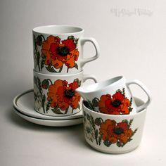 Vintage 1970s Retro J&G Meakin Studio Pottery POPPIES Design Part Coffee Set