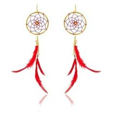 Red+With+Gold+Pearl+Earrings Buy Dream Catcher, Dream Catcher Earrings, Gold Pearl, Pearl Earrings, Red, Pearl Studs, Bead Earrings, Pearl Stud Earrings