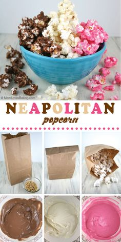 Neapolitan Popcorn is chocolate, vanilla and strawberry flavored popcorn served together to taste just like everyone's favorite ice cream! The salty crunch of popcorn paired with creamy chocolate, white chocolate and strawberry chocolate is so Popcorn Snacks, Candy Popcorn, Flavored Popcorn, Gourmet Popcorn, Popcorn Recipes, Snack Recipes, Dessert Recipes, Sweet Popcorn, Microwave Popcorn
