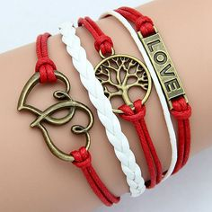 Double Love Heart with Tree Totem Charm Bracelet Style by ATHiNGZ, $3.99