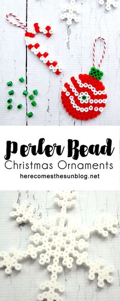 These perler bead Christmas ornaments are so pretty and easy to make. These are the perfect holiday craft for the whole family.
