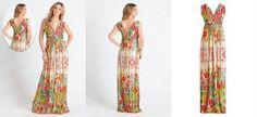 Vestido Longo Decote V Étnico Floral