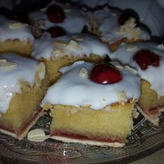 My first homemade cherry bakewell tart, very light and fluffy and just the right almond taste . Clares CakesnBakes