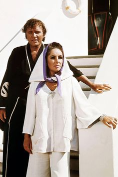 Richard Burton and Elizabeth Taylor on the set of Boom! (1968)