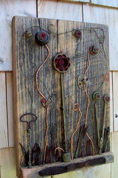 Found object Art Assemblage, vintage garden on reclaimed Barn wood. $120.00, via Etsy.