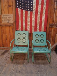 Vintage+Heavy+Metal+Outdoor+Chairs | Vintage 1950s Turquoise Metal Lawn Porch Chairs by DailyMemorandum