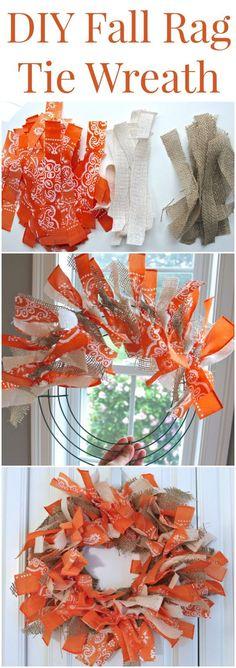 Easy DIY Fall Rag Tie Wreath (made from burlap and bandanas!)