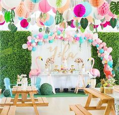 "156 Likes, 5 Comments - Party Deco by Khim Cruz (@partydecoph) on Instagram: ""Let's splash and play the flamingo away, it is Ysla's tropicool birthday! 😍🌼🌴 All to God's glory…"""