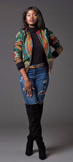 Winter can be dull but this #dashiki bomber sure warms things up visually and temperature wise!