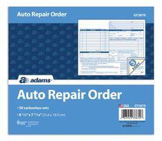 Auto body repair invoice automotive repair shops pinterest 3 part carbonless auto repair order form set of 5 fandeluxe Choice Image