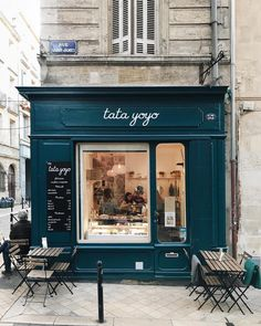 🇫🇷 The French have a knack for making anything look chic. And that includes fro-yo shops. — 🇫🇷 The French have a knack for making anything look chic. And that includes fro-yo shops. Small Coffee Shop, Coffee Shop Design, Cafe Design, Store Design, Store Front Design, French Coffee Shop, Coffee Shops, Cute Coffee Shop, French Cafe