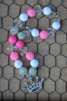 Pink Rhinestone Crown Chunky Beaded Necklace by OhPrettyPlease, $23.00