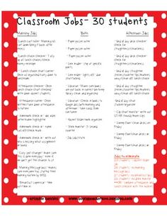 Classroom Jobs Listed and Categorized