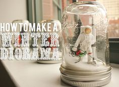 Make a winter diorama (aka snow globe) with some plastic toys and a mason jar.
