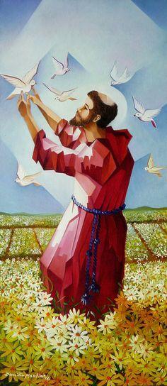 são francisco de assis - Pesquisa Google Catholic Art, Catholic Saints, Patron Saints, Religious Art, Ste Claire, St Francisco, Holy Art, Cubist Paintings, St Clare's