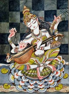 Krishna for Today Durga Painting, Kerala Mural Painting, Indian Art Paintings, Saraswati Goddess, Goddess Art, Traditional Paintings, Traditional Art, Tantra, Saraswati Picture