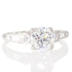Art Deco 1.13ct Diamond Ring. View our collection of anique, Art Deco, and modern jewellery at www.rutherford.com.au