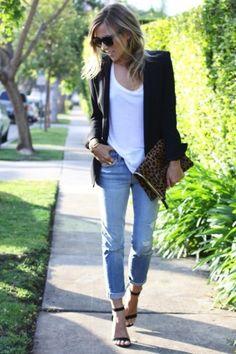 Boyfriend jeans, ankle strap heels, leopard clutch, white tee and slouchy blazer