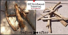 DIY tutorial for making faux driftwood from sticks and logs found in your yard.