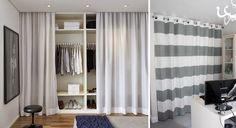 Nice Decorar Casa Low Cost that you must know, Youre in good company if you?re looking for Decorar Casa Low Cost Curtain Wardrobe Doors, Closet Curtains, Closet Bedroom, Bedroom Storage, Bedroom Decor, Bedroom Furniture, Ideas Armario, Ikea Closet Organizer, Small Space Interior Design