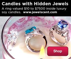 Candles with Hidden Jewels from JewelScent - find a ring valued at $10 to $7,500 inside their luxury soy candles!