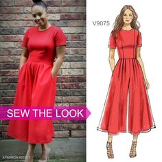 Sew the Look: We can't get over how chic A Fashion Addict's version of Vogue Patterns V9075 pattern is. Try a dress with culottes.