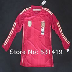Spain 2014 World Cup Long Sleeve Jersey Shirt Best Thai Quality Sergio Ramos Xavi Iniesta Torres Home Red Spain Soccer Jersey $29.89 - 30.89