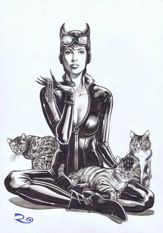 David Roach (2000ad/Dr Who/Vampi) - Catwoman commission for London Supercon 2015. Beautiful stuff as ever.
