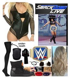 """""""Smackdown: Your NEW and IMPROVED Champion!"""" by spidey31 ❤ liked on Polyvore featuring Falke, Converse and WWE"""