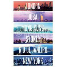 Poster: Capitals of the world zum Verkauf online. Bestellen Sie Ihre Poster, Ihre 3D Film-Poster oder ähnliches interessantes Deco Panel 60x90