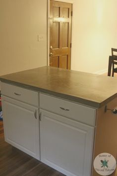 These DIY Concrete Countertops Using Self Leveling Cement is a great alternative to other methods. It is simple and easy and the results are great!