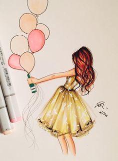 62 Ideas for fashion illustration sketches inspiration simple Happy Birthday Painting, Happy Birthday Drawings, Arte Fashion, Dress Fashion, Girly Drawings, Colorful Drawings, Beautiful Drawings, Fashion Sketches, Fashion Illustrations