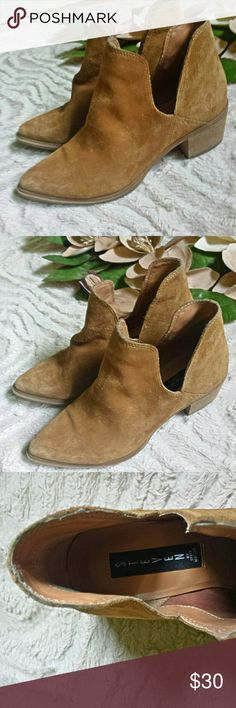 Steven by Steve Madden Short Leather Tan Booties Super cute! Really good condition!  Small heel  Interesting ankle accent  Size 7.5 (however I'm an 8.5 and it fits okay) Steven by Steve Madden Shoes