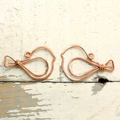 2 Wire Birds Solid Copper - Handmade Wirework Connector, Charm, or Pendant