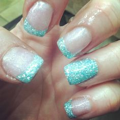Glitter French with accent nail in aquamarine on opi gel 2 week manicure