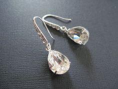 Clear Swarovski Crystal Drop Earings/ Bridal by KVEdesigns on Etsy, $26.00
