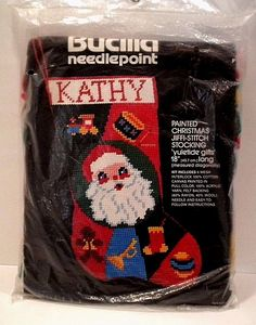 "Bucilla Xmas Stocking Santa Clause 18"" Needlepoint Kit Sealed Painted 6 Mesh New #Bucilla"