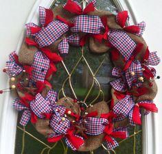 Patriotic Wreath in Burlap Deco Mesh by WeHaveWreaths on Etsy, $45.00