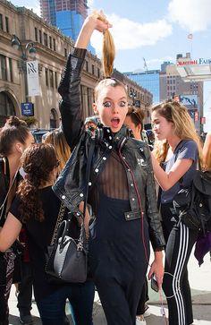 Stella Maxwell carrying a Givenchy Mini Antigona bag. New York Fashion Week, Spring 2016.