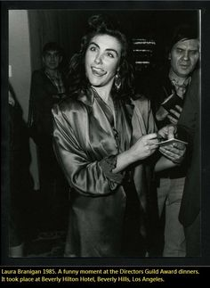 Laura Branigan March 1985. A funny moment at the Directors Guild Award dinners. It took place at Beverly Hilton Hotel, Beverly Hills, Los Angeles.