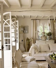 Sofa Love Seat Table Shutters Divider Swedish Clock Mirror Curtains Living room Whitewashed Cottage chippy shabby chic french country rustic swedish decor idea