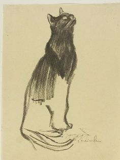 Theophile Alexandre Steinlen: Study of a black cat looking upwards.