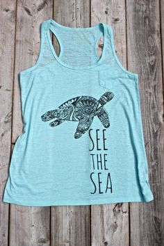See the Sea Medicine Turtle tank top - Love Me Two Times - Light Blue M-L. $21.00, via Etsy.  $1.00 for ocean conservation