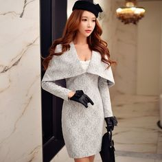 Lace Cape Sheath Dress (Dabuwawa) Light Gray.