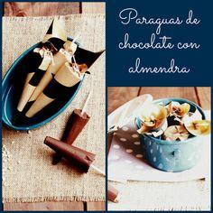 Paraguas de chocolate con almendras