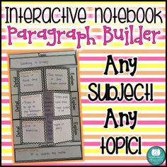 Interactive Notebook Paragraph Builder - Any Subject! from A Teachable Teacher on TeachersNotebook.com (5 pages)